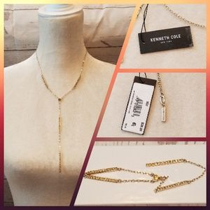 Kenneth Cole Y Necklace w/ Citrine Crystals Gold